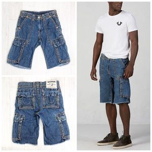 True Religion Men Short Cargo Cut Off Big T Sz 28